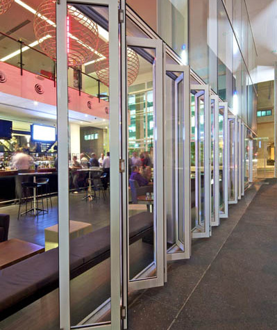 Multi-fold glass doors on establishment