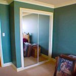Mirror closet doors installed in a room