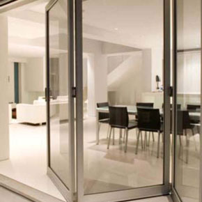 Bifold doors inside residential home